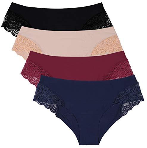 Anwell Seamless Underwear Invisible Bikini Lace Nylon Women Panties Medium