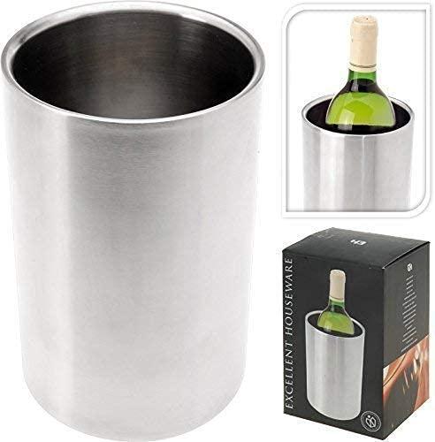 DRULINE Weinkühler Flaschenkühler Sektkühler Edelstahl | H x Ø 18 cm x 12cm | Silber