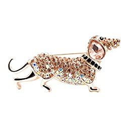 Rhinestone Sausage Dog Pin Brooche-B