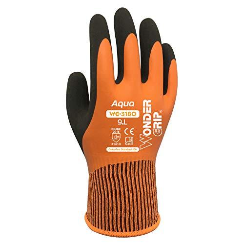 Wonder Grip Aqua Orange WG-318O Arbeitshandschuhe Wasserdicht, Wasserabweisend, doppelter Latexbeschichtung, Anti-Rutsch für sicheres Greifen bei Nässe und Feuchtigkeit (9 / L)