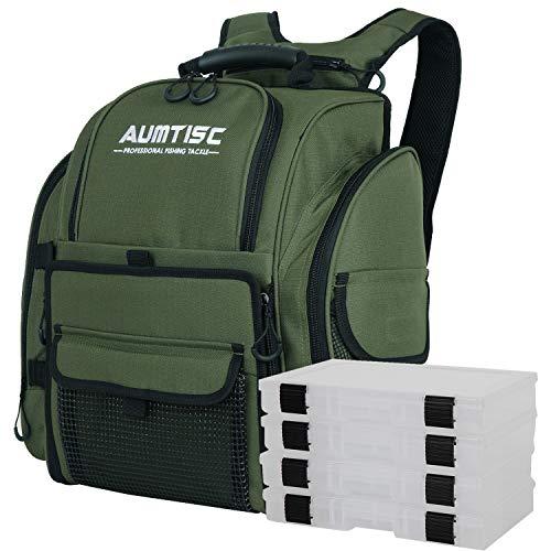 AUMTISC Angeltasche,Große Angelrucksack mit 4 Tackle Boxen,für Aufbewahrung von Angelzubehör,Grün