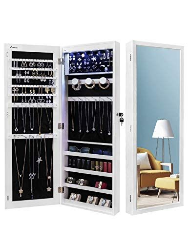 armoire organizers Nicetree 6 LEDs Jewelry Armoire Organizer, Wall/Door Mounted Jewelry Cabinet with Full Length Mirror, Larger Capacity, Dressing Mirror, White