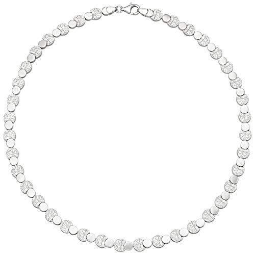 JOBO Damen-Halskette aus 925 Silber gehämmert 45 cm