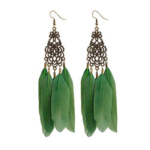 Zwart/blauw/groene veer oorbellen ketting kroonluchter Eardrop veer oorbellen, damesmode handgemaakte sieraden