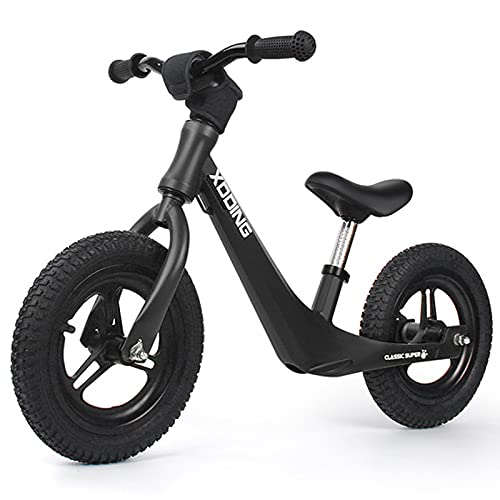 Bicicleta De Equilibrio para Niños De Aleación De Magnesio, Bicicleta De Entrenamiento Infantil De 2 A 6 Años De Edad, Bicicleta De Equilibrio para Bebés No Pedales,Negro