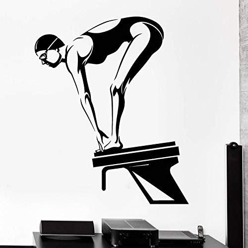 Tianpengyuanshuai Frauen Schwimmen Wandaufkleber Schwimmer Aufkleber Schwimmen Poster Vinyl Wand Aufkleber Dekoration Wandbild schwimmende Wand Aufkleber142X174cm