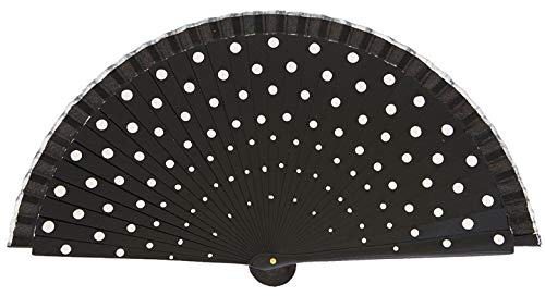 Abanico de Madera Flamenco con Lunares Color Negro Lunares Blancos