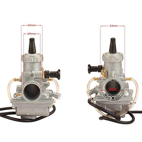 Carburador Carburador de Motocicletas VM24 28 mm Carb para Y&amaha MIKUNI DT125 YZ80 YZ85 DT100 RT100 RT180 BW200 TTR125 (Color : Straight Head)