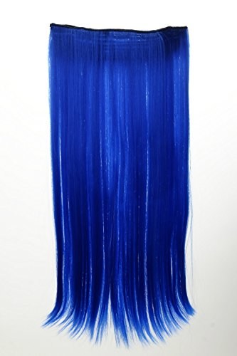 WIG ME UP ® - YZF-3177-TF2517 Haarteil Extension breite Haarverlängerung 5 Clips glatt Blau Neonblau