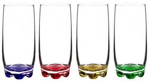 Vibrant Splash Water/Beverage Highball Glasses 1325 Ounce  Set of 4