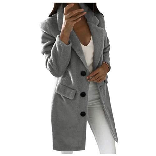 Lulupi Wintermantel Damen Lange Jacke Blazer Tweed Zweireiher Longblazer PEA Coat Trenchcoat Wollmantel Warme Winterjacke Outwear