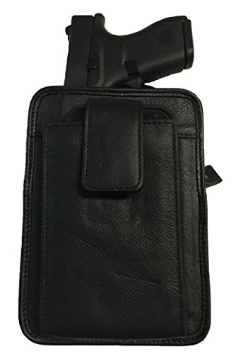 Black Leather Concealment Gun Holster Fits Glock 42 and Holds Iphone 6 All-in-one