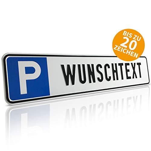Betriebsausstattung24® Individuelles Parkplatzschild mit Wunschprägung/Wunschtext | Maße 52,0 x 11,0 cm | mit oder ohne Löcher | Aluminium geprägt