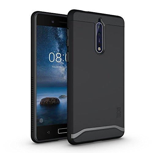 TUDIA Cover Robusta [Merge] protezione estrema/Heavy Duty ma sottile custodia doppio strato per Nokia 8 (Nero)