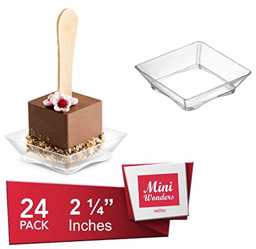 Clear Plastic Dessert Bowls Plates | 2.25 Inches - 24 Pack | Arc Base Square Shape Disposable Small Bowls | Pinch Prep Dipping Bowls | Condiment Sauce Custard Cups | Candy Dishes [Mini Wonders]