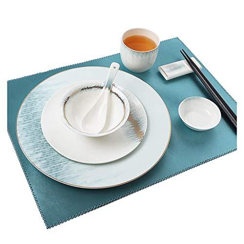 QTQZ Platos de Cena, manteles Individuales Azules - Platos Laterales y tazones de Pasta con Estilo Moderno para Hotel, Restaurante, Club
