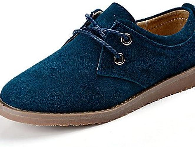 NJX  Chaussures Femme-Décontracté-Bleu   Marron   Rouge-Talon Plat-Confort-Richelieu-Cuir