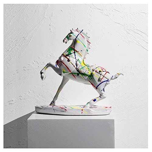 Estatuas Crafts lujo luz, de alta gama caballo Adornos, nrdica de la sala, oficina, estudio, gabinete del vino, joyas, regalos estreno de una casa Estatua de la Estatua de Feng Shui ( Color : B )