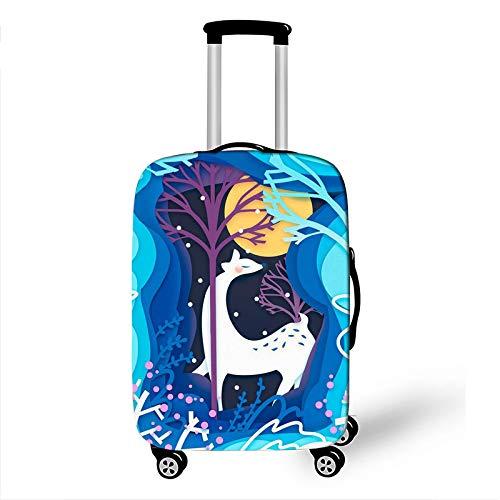 Funda para equipaje, estampado de ciervos de bosque multicolor, resistente al desgaste, cubierta antipolvo para carrito de viaje apta para equipaje de 18 a 32 pulgadas