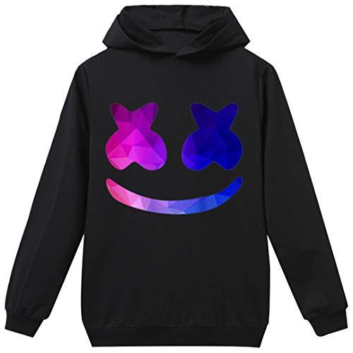 Silver Basic Garçon Sweat à Capuche Enfant DJ Masque T-Shirt Enfant Smile EDM à Manches Longues (140cm(Hauteur: 125-135cm), Noir Sourire Multicolore-1)