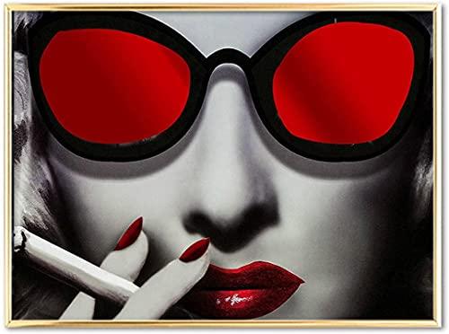 Art wall 60x80cm gafas de sol de moda modernas sin marco para mujer pintura de paisaje retro imagen del cartel adecuado para la decoración de la barra de la sala de estar