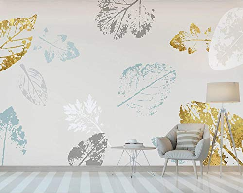 Abstract golden leaves wallpaper mural dormitorio fondo pared 350×245cm