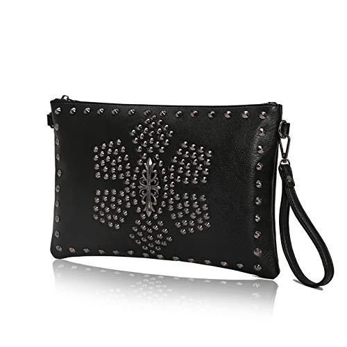 Boss Bag Heren Handtas PU Lederen Clutch Bag Rivet Polszak Jeugd Portemonnee Card Houder Outdoor Opslag (Kleur: Zwart, Maat : L)