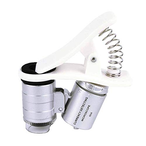 FYYONG 60X Magnifying Glass Universal Mobile Phone Mini Portable Clip LED Microscope Magnifier Loupe UV Currency Detector Flashlight (Color : B)