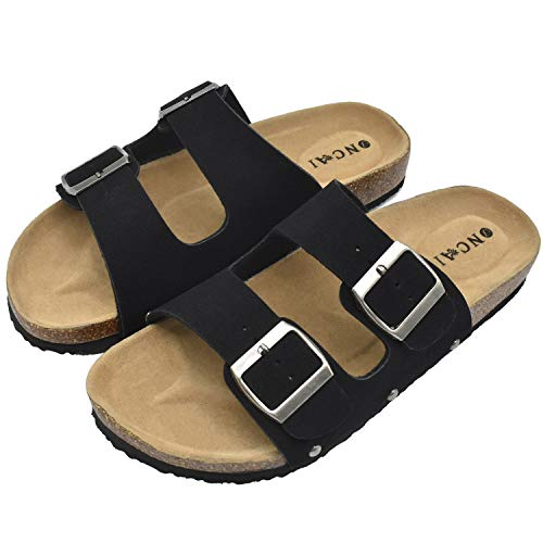 Womens Flat Slide Sandals with Arch Support 2 Strap Adjustable Buckle Slip on Slides Shoes Non Slip Rubber Sole Black