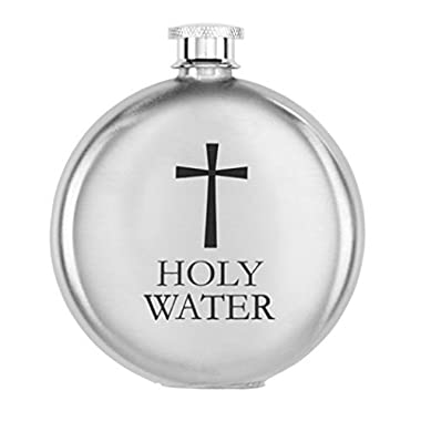 Stainless Steel Round Holy Water Bottle Container with Screw Top Lid, 5 Ounce