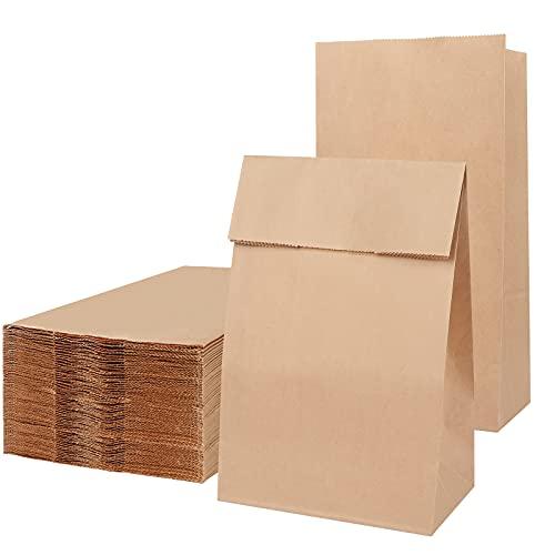 100 Piezas Bolsas Papel Kraft 13×7×22cm Bolsas Regalo,Bolsas Papel Pequeñas sin Asas para Chuches Bocadillos Ban Almuerzo Bocadillo Bolsa Llevar (marrón)