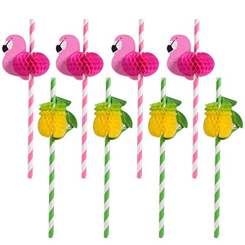 Sakolla 30 PCS Flamingo and Pineapple Paper Straw, 3D Disposable Cocktail Drinking Straws for Hawaii Luau Themed Birthday Party Supplies Flamingo Party Decoration