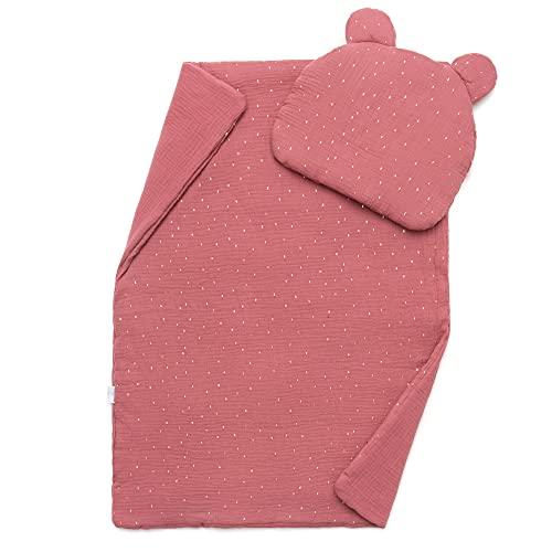 EliMeli Juego de manta y almohada para bebé – de 100% muselina algodón – Manta infantil con almohada para niñas y niños – Manta con cojín infantil para cochecito o cama (rosa – dorado)