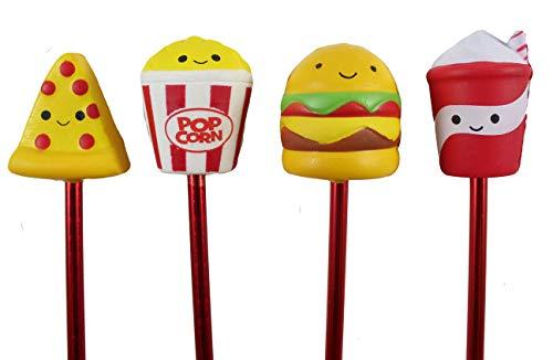 Set of 4 Cute Junk Food Pens - Fun Squishy Office School Fidget Pens - Anxiety ADHD - Gift Burger, Popcorn, Drink, Pizza