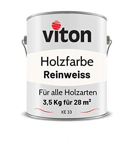 VITON Holzfarbe in Weiss - 3,5 Kg Holzlack Seidenmatt - Wetterschutzfarbe für Außen - 2in1 Grundierung & Deckfarbe - Profi-Holzschutzlack - KE31 - RAL 9010 Reinweiss