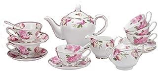 Porlien Tea Set, Rose Camellia, Porcelain Gift Set (6 teacup sets with teapot)