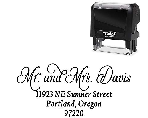 Customized Stamp Self-Inking Return Address Mail 4 Lines. Personalized Gift. Perfect Size for Mail Envelopes. Color Variations via Customization - 5 Ink Options