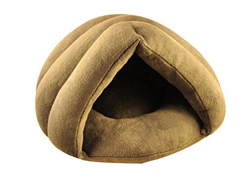 YOUJIA Maison Panier Corbeille Canapé Igloo Chenil Niche Souple Chaud Couchage Lit pour Petit Chien Chat (Gris,S)