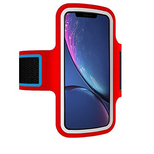 Brazalete Deportivo movil Compatible con Huawei P10 Lite Running Deporte Funda Banda Deportiva Transpirable Bolsillo para Llaves Cables Auriculares Tarjetas (Rojo)