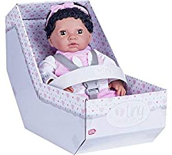 39cm baby doll with a realistic smell, super soft baby like black hair, sleepy eyes and feels just like a new born baby (weighs 2lbs 10oz). Baby comes wearing a patterned T-Shirt, bunny all-in-one suit and headband. Comes in car seat gift box with re...