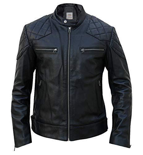 High Star Collections Napa Motorradjacke, gesteppt, Biker-Stil, echtes Leder - Schwarz - Large