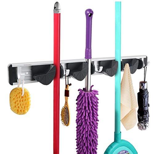 GMHO Mop and Broom Holder, 4 Position with 5 Hooks Garage Storage, Storage Organizer for Kitchen Bathroom Garage Closet Office and Garden