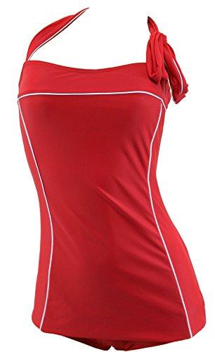 Aloha-Beachwear Damen Neckholder Badeanzug im Vintage Retro Look Uni, A15000 (XL / 44 / UK 18, Tomaten-Rot)