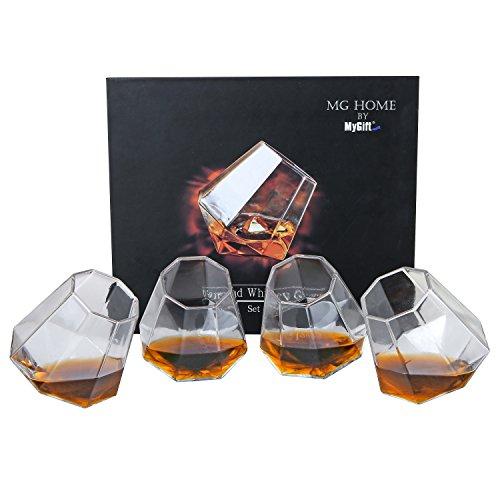 MyGift Tilting Whiskey Scotch Glass, Diamond Shape Liquor Snifter (10oz), Set of 4