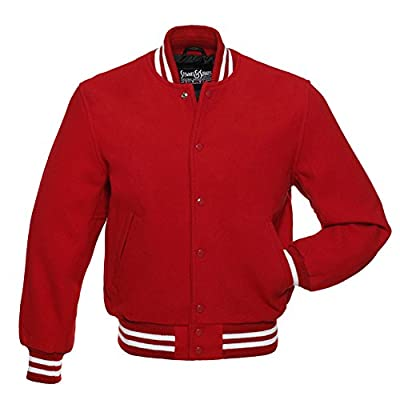 CW103-L All Wool Scarlet Red and White Varsity Letterman Jacket by Stewart & Strauss