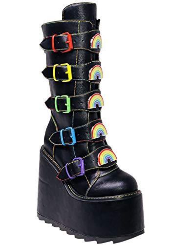 YRU Dune Rainbow Platform Boots in Black - Black - Rave, Goth, EDM, Festival (Numeric_9)