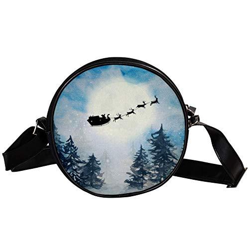 Bennigiry Damen Umhängetasche Santa Claus Schlitten Rentier Silhouette Umhängetasche Top Handtasche