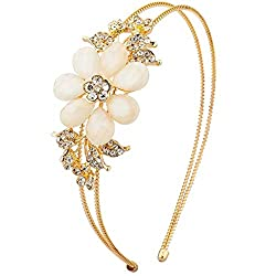 White Faceted Flower Crystal Pave Stretch Headband