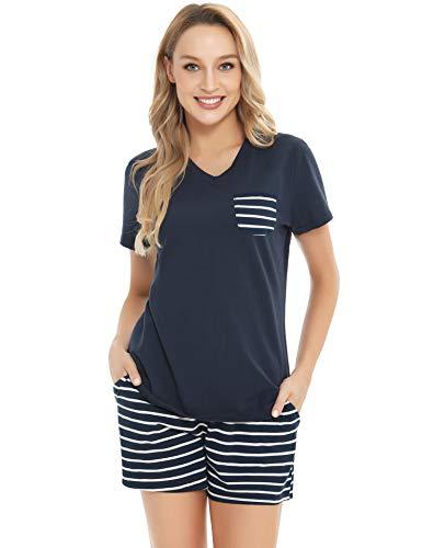 ARBLOVE - Set da donna estivo Pajamas Short Top & Bottom Nightwear Soft pjs Lounge