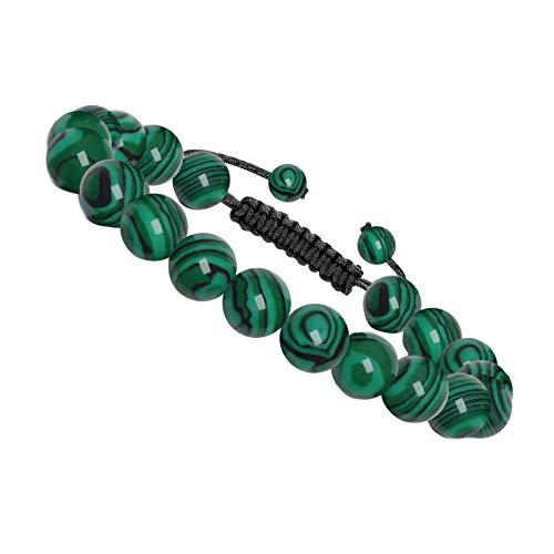 J. Fée - Pulsera de piedra natural ajustable con perlas de 8 mm y 6 mm, 6.5 pouces, Piedra,